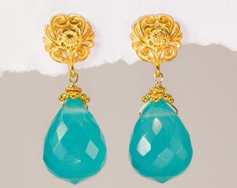 Aqua Blue Quartz Drops and 22K Gold Vermeil Filigree Earrings