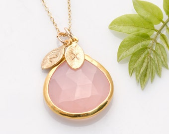 Mothers Day Gift - Pink Chalcedony Necklace - October Birthstone Jewelry - BCA - Personalized Necklace - Customize Initials - Gold Necklace