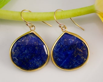 Lapis Earrings - Gem Earrings - Navy Blue earrings - gold earrings - something blue- September Birthstone