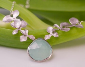 Aqua Blue Chalcedony Necklace - Orchid Flower Necklace - Gemstone Necklace - Sterling Silver Necklace - Nature Inspired Jewelry