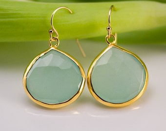 Aqua Blue Chalcedony Earrings - Gemstone Earrings - Gold Earrings - Drop Earrings - Bezel Set Earrings - Dangle Earrings