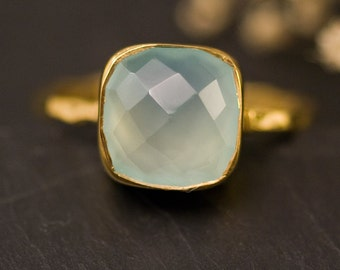 Aqua Blue Chalcedony Ring Gold, Solitaire Ring, Gemstone Ring, Blue Stone Ring, Stacking Ring, Cushion Cut Ring, Birthday Gift, Gift for Her