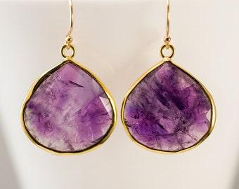 Purple Amethyst Earrings - February Birthstone Earrings - Gold Earrings - Purple Earrings - Drop Earrings