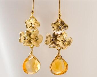 November Birthstone Earrings - Citrine Earrings - Swarovski crystals Earrings  - Gemstone Earrings