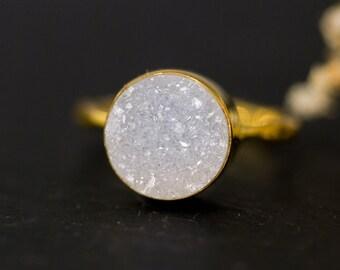Round Druzy Ring Gold - April Birthstone Ring - Gemstone Ring - Stacking Ring - Gold Ring - Round Ring