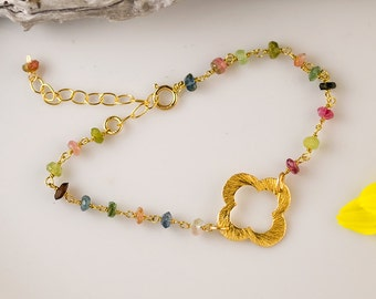 October Birthstone Bracelet - Multi-Color Tourmaline Bracelet - Gold Four Leaf Clover Bracelet - Gold bracelet - Gift for Her