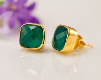 Green Onyx Stud Earrings - Gemstone Studs - Cushion Cut Studs - Gold Stud Earrings - Post Earrings