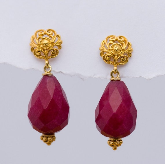 Large Ruby Quartz Drops and 22K Gold Vermeil Filigree Earrings