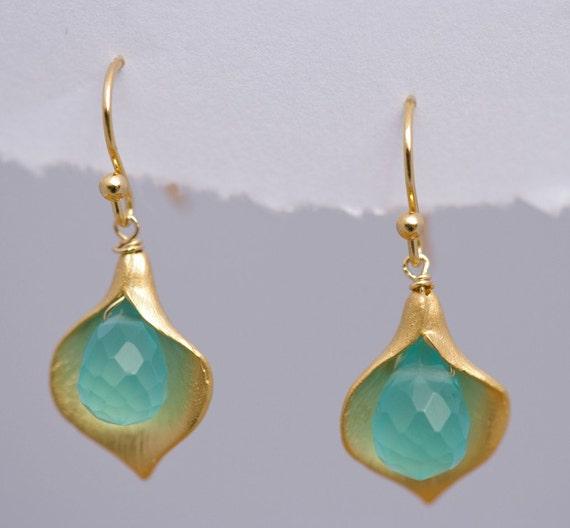 Blue Quartz Earrings - Calla Lily Earrings - Gold Earrings - Nature Inspired Jewelry