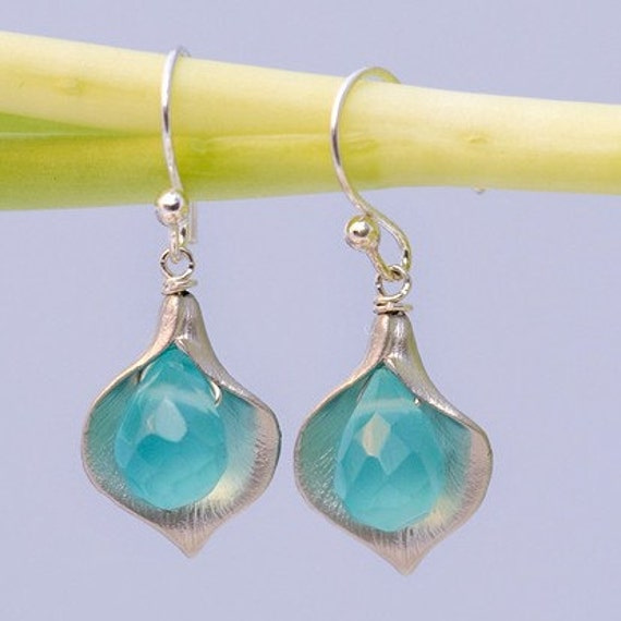 Blue Quartz Earrings - Calla Lily Earrings - Silver Earrings - Nature Inspired Jewelry- Mother's Day Gift