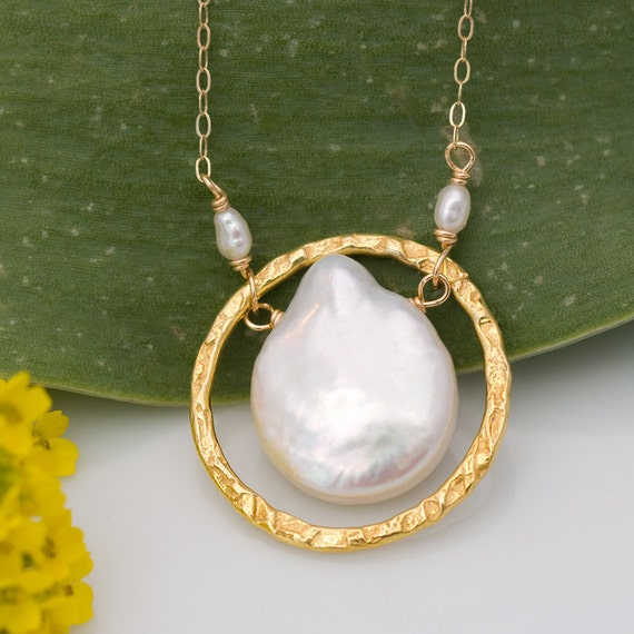 Natural White Coin Pearl Stone And 22k Gold Vermeil Necklace