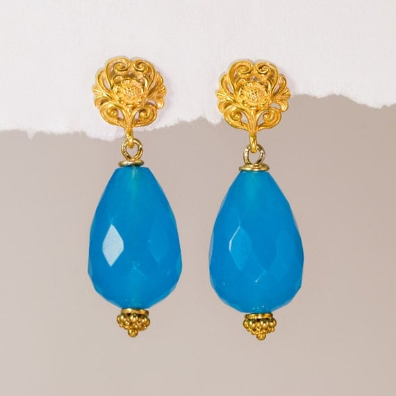 Large Blue Quatz Drops and 22K Gold Vermeil Filigree Earrings- Mother's Day Gift