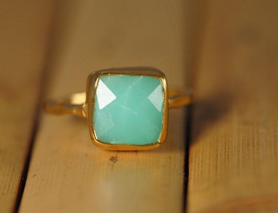 Chrysoprase Ring - Mint Green Ring - Gemstone Ring - Stacking Ring - Gold Plated - Cushion Cut Ring
