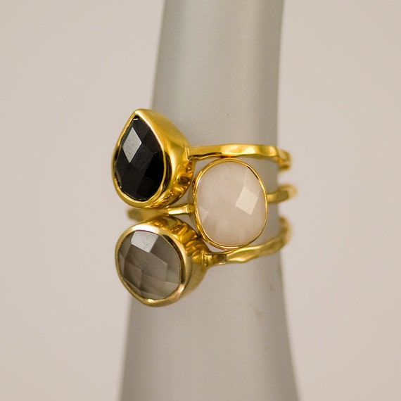 10% Off - Gemstone Ring - Stacking Rings - Black Onyx ring - Grey Moonstone ring -  White agate ring -  Bezel Rings - Stackable Rings