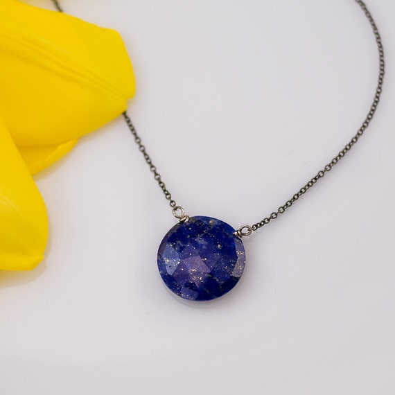 Lapis necklace - Oxidized Silver Necklace - Gemstone necklace  - Something Blue- September Birthstone