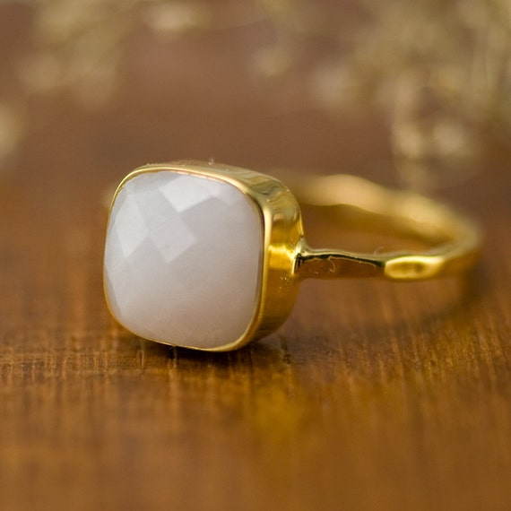 white agate gemstone ring gold gemstone ring boho ring gold