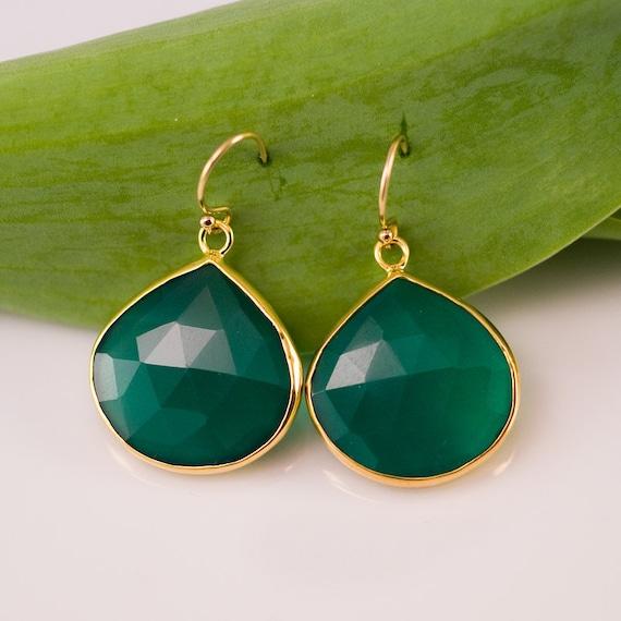 Green Onyx Drop Earrings - Gold Bezel Gemstone Earrings