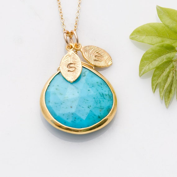 Turquoise Necklace - December Birthstone Necklace - Personalized Necklace - Customize Initials Necklace - Gold Necklace