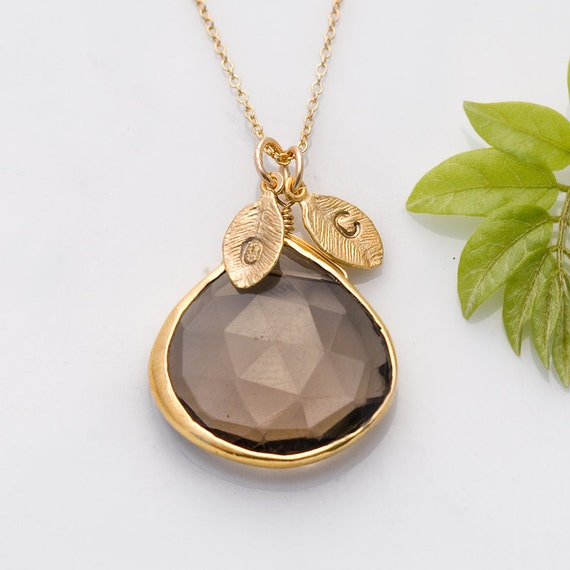 Smokey Quartz Necklace - Personalized Necklace - Mothers Jewelry - Customize Initials Necklace - Gemstone Necklace - Gold Necklace