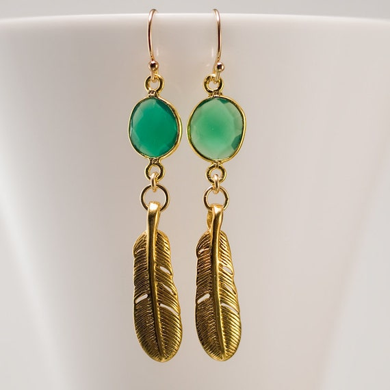 Boho Chic Earrings - Gold Bird Feather Earrings - Green Onyx Earrings - Dangle Earrings - Gemstone Earrings