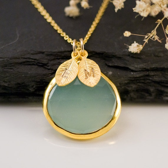 Aqua Blue Chalcedony Necklace - Personalized Necklace - Customize Initials Necklace - Gemstone Necklace - Gold Necklace