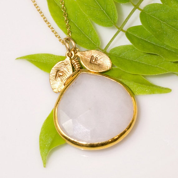 White Agate Necklace - Personalized Necklace - Customize Initials Necklace - Gemstone Necklace - Gold Necklace