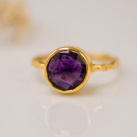 Purple Amethyst Ring Gold - February Birthstone Ring - Gemstone Ring - Stacking Ring - Gold Ring - Round Ring