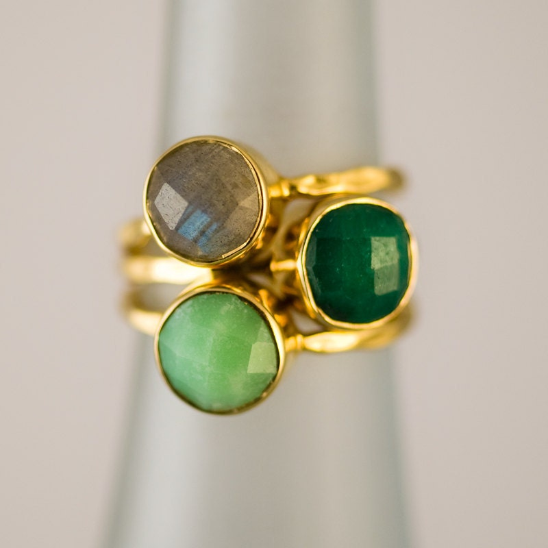 gemstone ring stackable rings gold rings emerald