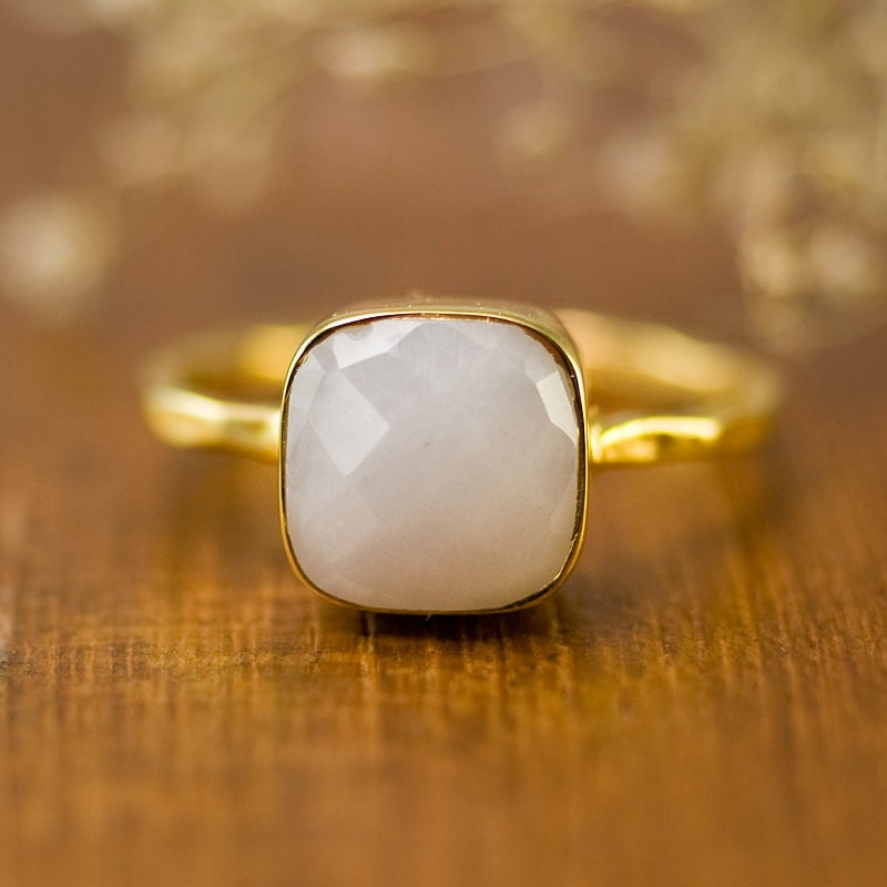 white agate cushion ring white ring stacking ring