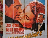 NOTORIOUS Vintage French Movie Poster Reissue Affiche Cary Grant Bergman Alfred Hitchcock