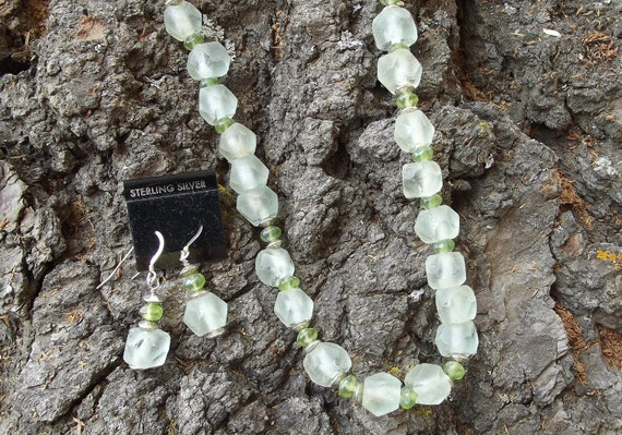 """CLEARANCE, CLEARANCE, CLEARANCE - """"Mint Julep"""" -  recycled glass necklace and earrings"""