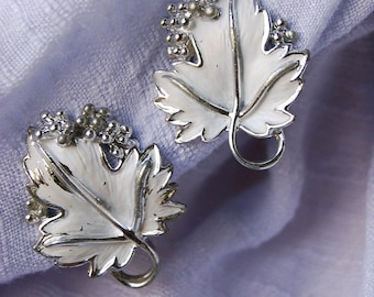 Vintage Enameled Grape Leaf Earrings - White and Silver - Marked SAC