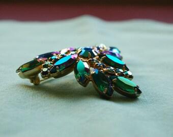 Vintage Aurora Borialis Green Rhinestone Brooch - Goldtone - 1960s - MadMen Style
