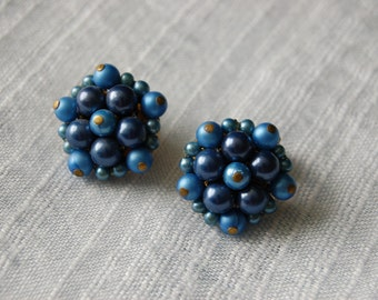 Vintage Blue Luster Cluster Earrings - 1949-50