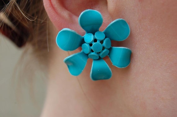 Vintage Turquoise Blue Flower Earrings