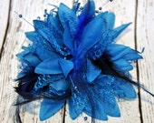 DARK BLUE Hair Feather Flower Hair Clip with Lace, Beads & Feathers