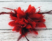 LAST ONE - RED Hair Feather Flower Hair Clip with Lace, Beads & Feathers
