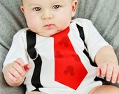 Red Black Mouse Ear Print Tie & Suspenders Bodysuit/Shirt - Made To Order -0-3M through 5T