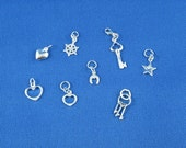 Sterling Silver Charms, Add Your Charm to an Athénaïs Jewelry Bracelet Sterling Silver Heart Moon Star Horse Shoe Keys Helm Bohemian Chic