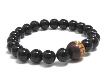 Men Worry Beads Buddhist, Chinese Mantra Wood Bead Chakra Mala Bracelet, Onyx Healing Meditation Retirement Rehab Recovery Gift for Yogi Son