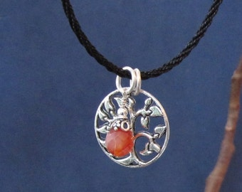 Tree of Life Silver Pendant Rope Necklace Fertility Crystal July Birthday Chakra Carnelian Charm Meaningful Inspiring Gift for Her Birthday