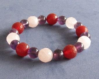 Fertility Bracelet Rose Quartz Purple Amethysts Carnelian Chakra Beaded Bracelet Pregnancy Jewelry Boho Gift for Wife Daughter in Law Sister