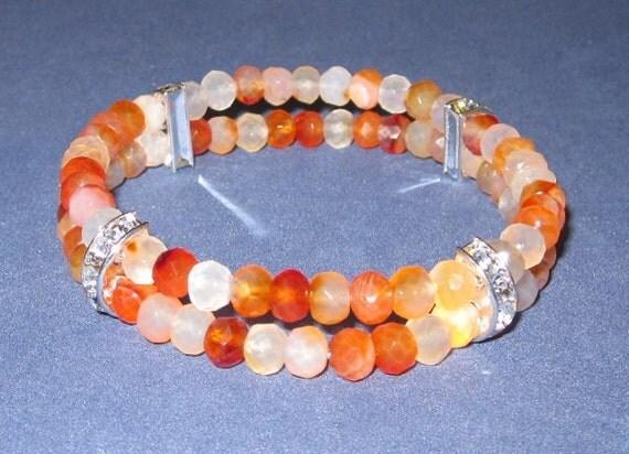 OOAK, Tangerine Carnelian Bracelet, Half Moon Rhinestone Orange Gemstone Chakra Jewelry Fertility Bracelet