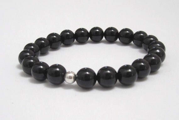 Black Onyx Chakra Bracelet Women Men Yoga Wrist Mala Bracelet Sterling Bead Protection Bracelet Mala Beads, Worry beads, Strength Bracelet