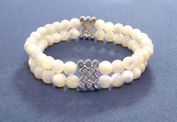 OOAK, White Mother of Pearls Stretch Bracelet, Sapphire Rhinestones, White Pearls Chakra Bracelet - Gemstone Jewelry