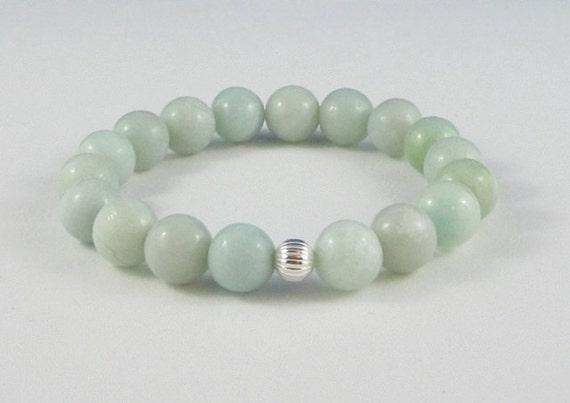 Green Amazonites Mala Beads Bracelet Healing Chakra Jewelry Sterling Bead, Green Sea Foam Amazonite Yoga Bracelet Worry Beads Gift for Her