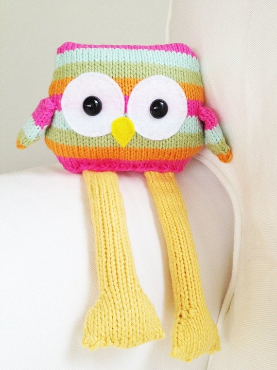 Owl Knitting Pattern Toy Owl Softie Pattern PDF by GandGPatterns