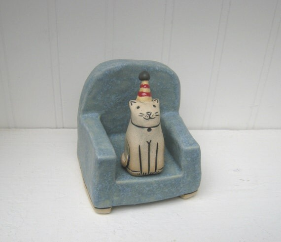 Happy Cat in Party Hat Sitting on Chair Ceramic Sculpture 1