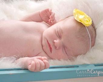 Yellow Satin Singed Flower Headband Newborn-6Months Photography Prop