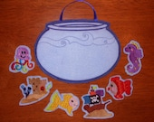 Felt Board Fish Bowl Tote In The Hoop Design for Embroidery Machines.
